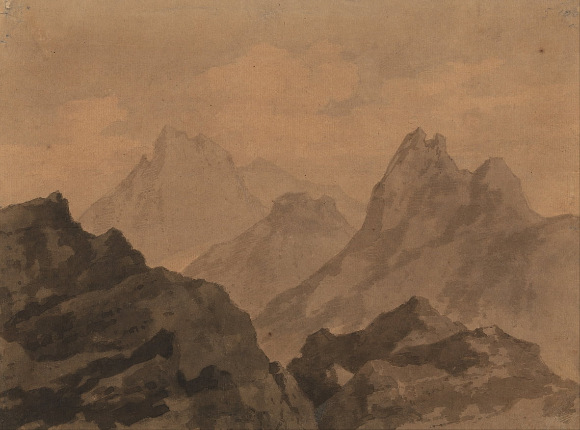 Mountain Tops Mountain Study de Alexander Cozens