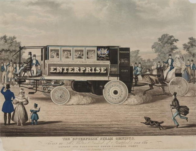 O Enterprise Steam Omnibus, construído pelo Sr. Walter Hancock de Stratford, para a London and Paddington Steam Carriage Company, gravado por C. Hunt, 1833 de W. Summers