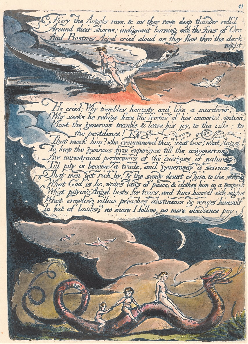 América. Uma Profecia, Placa 13, Fiery the Angels Rose .... de William Blake