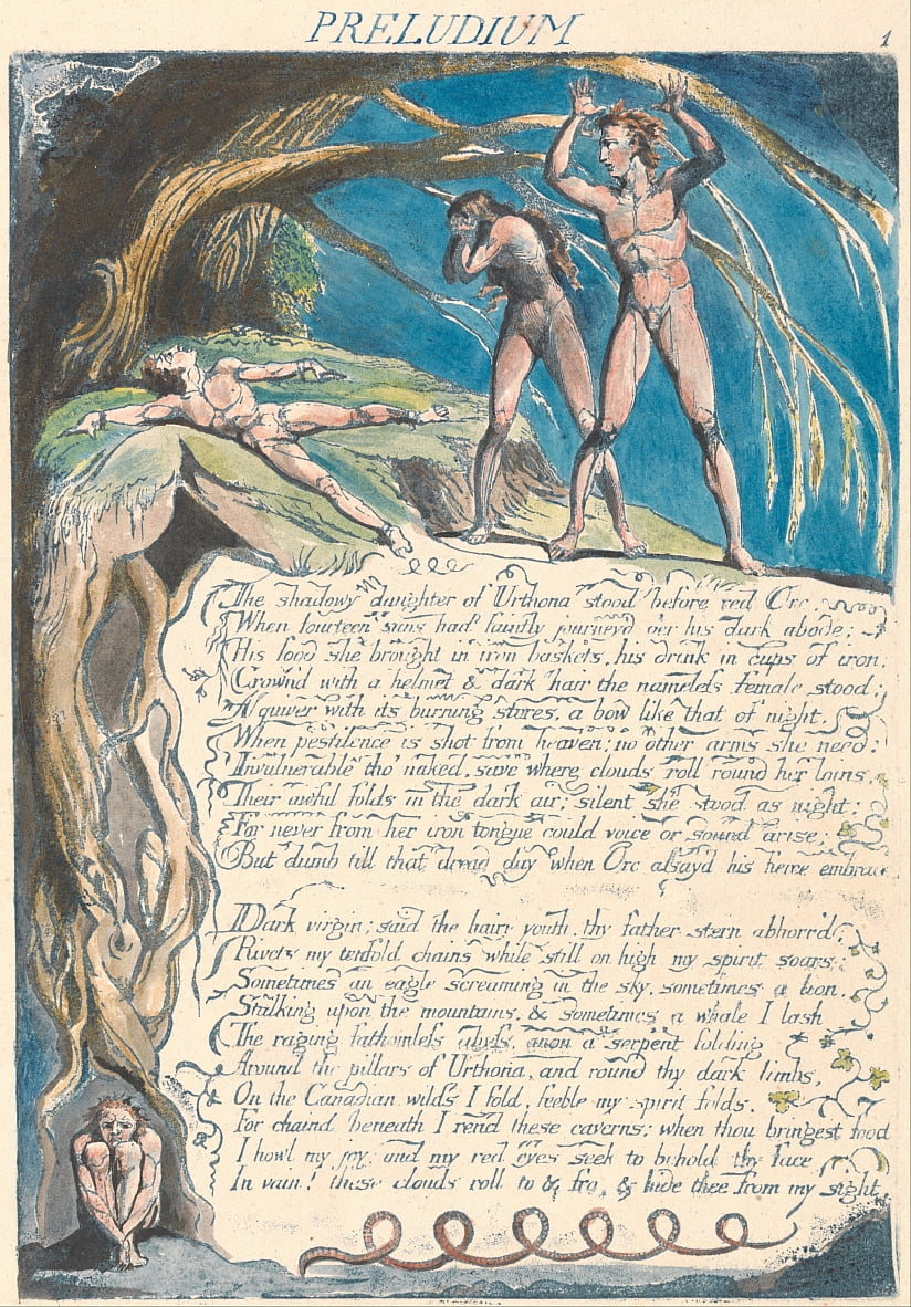 América. Uma profecia, placa 3, Preludium de William Blake