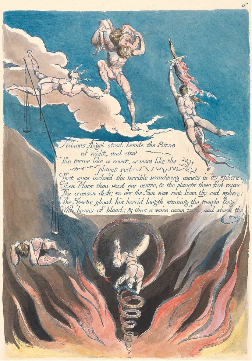 América. Uma profecia, placa 7, de William Blake