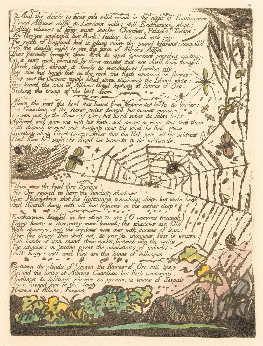 Europa. Uma profecia, placa 14, e as nuvens e fogos. . . . (Bentley 15) de William Blake