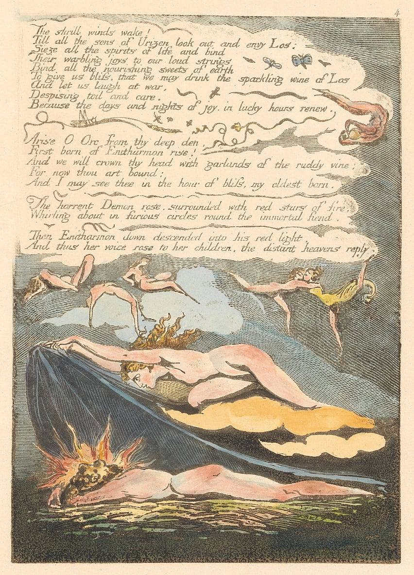 Europa. Uma Profecia, Placa 6, Os ventos estridentes despertam. . . . (Bentley 7) de William Blake