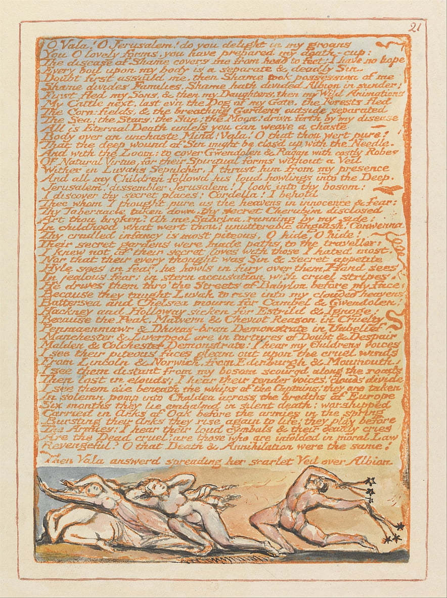 Jerusalém, placa 21, ó Vala! Ó Jerusalém .... de William Blake