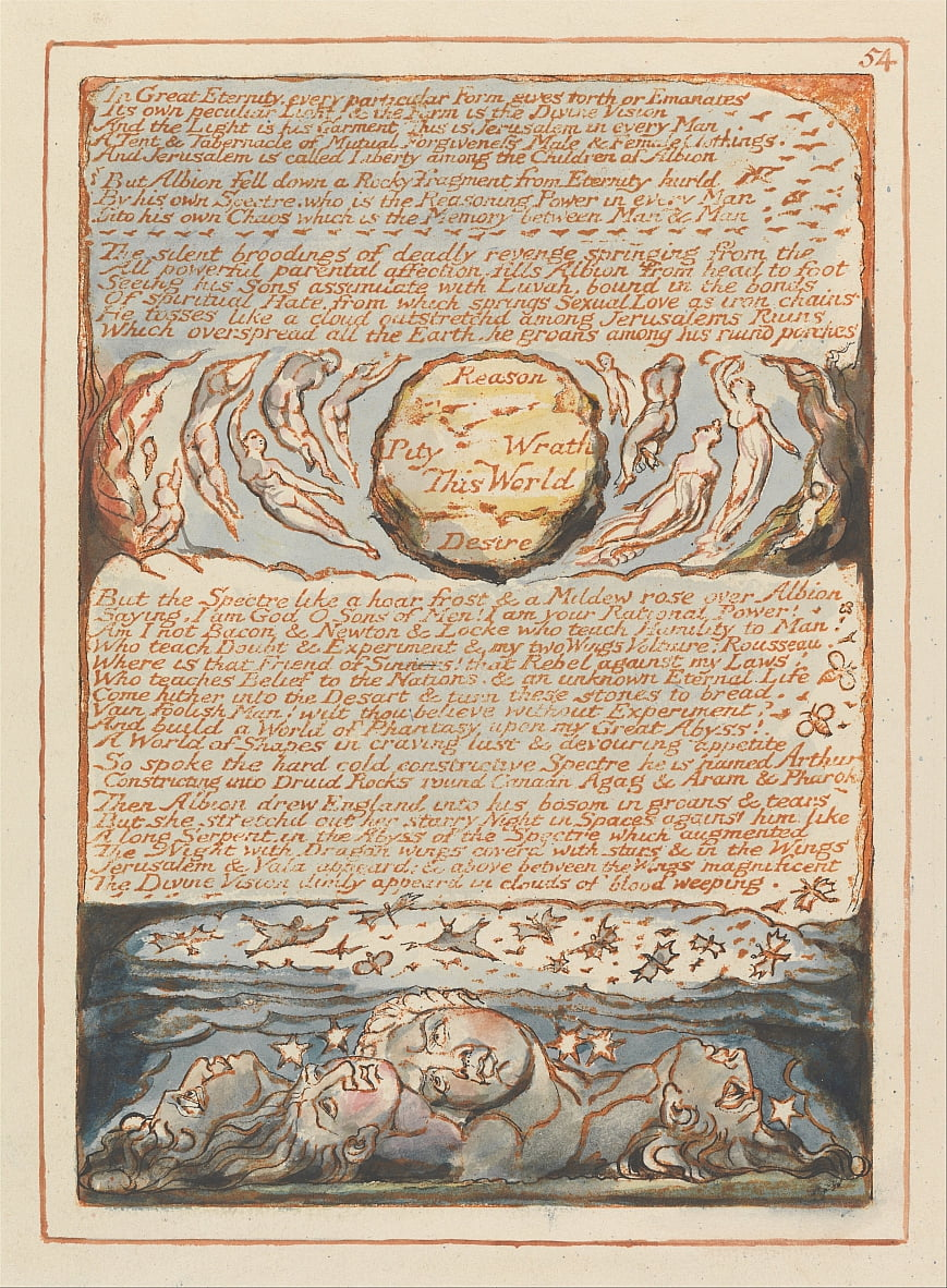Jerusalém, Placa 54, Na Grande Eternidade .... de William Blake