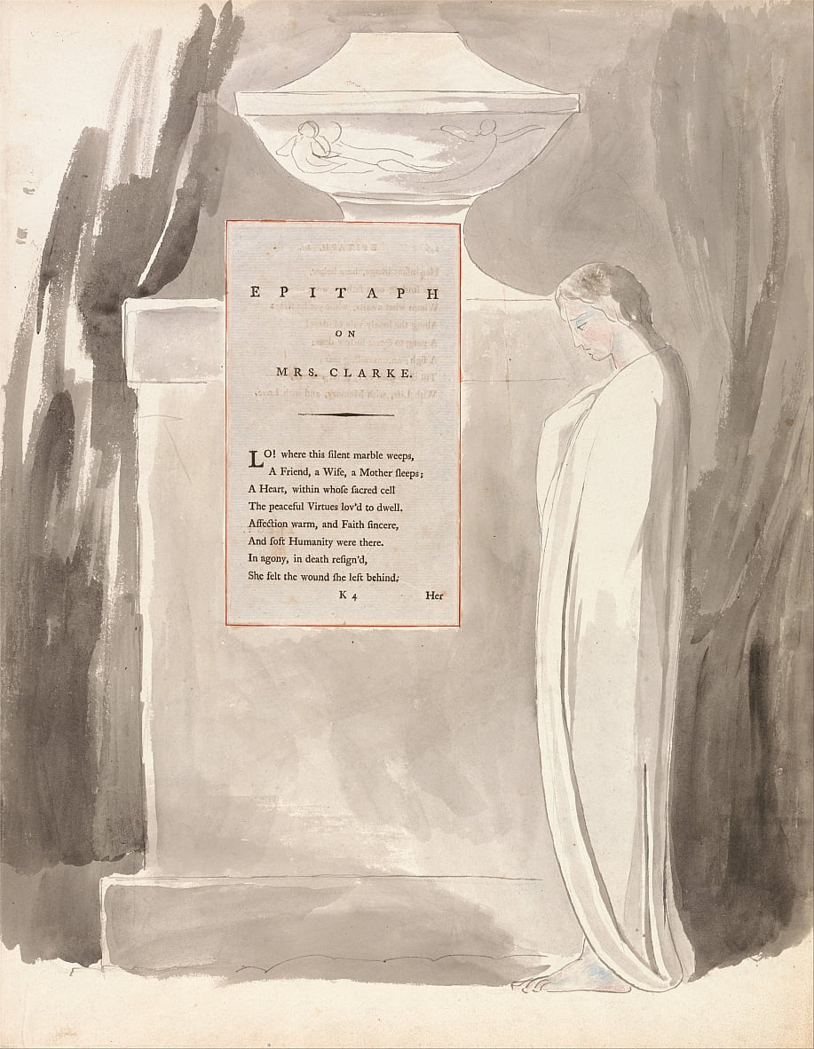 Os Poemas de Thomas Gray, Design 103, Epitáfio da Sra. Clarke. de William Blake