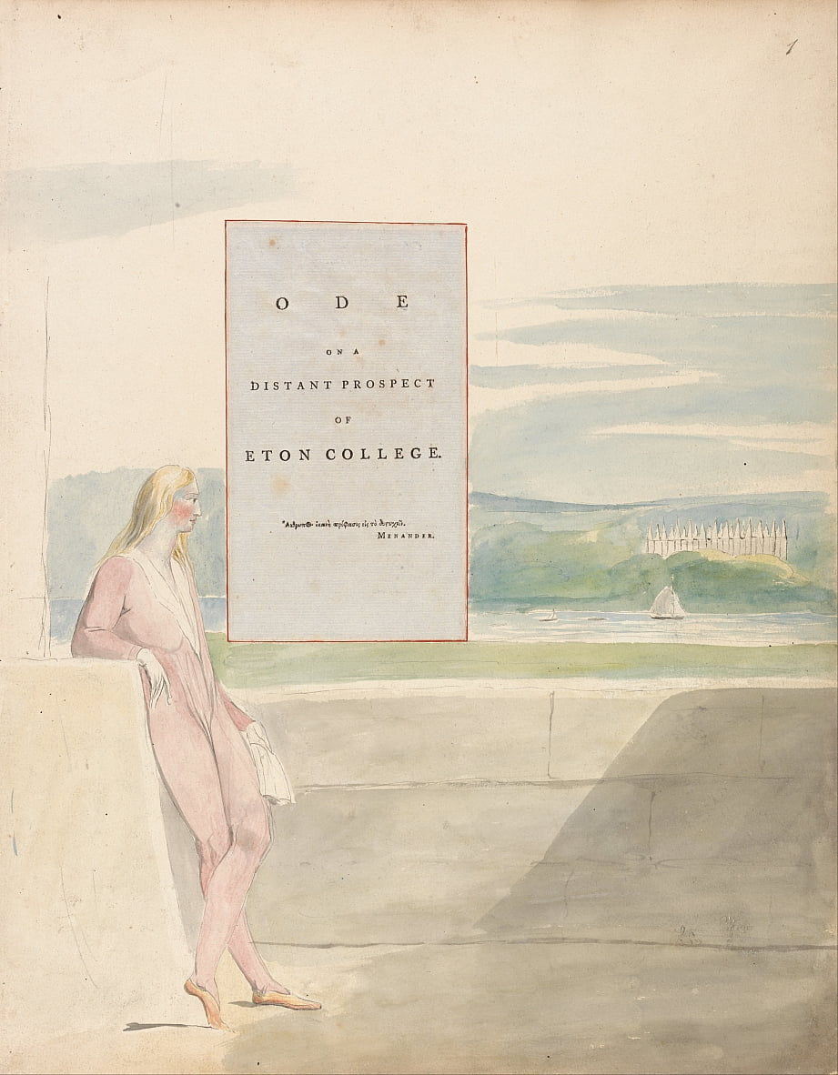 Os Poemas de Thomas Gray, Design 13, Ode em uma perspectiva distante do Eton College. de William Blake