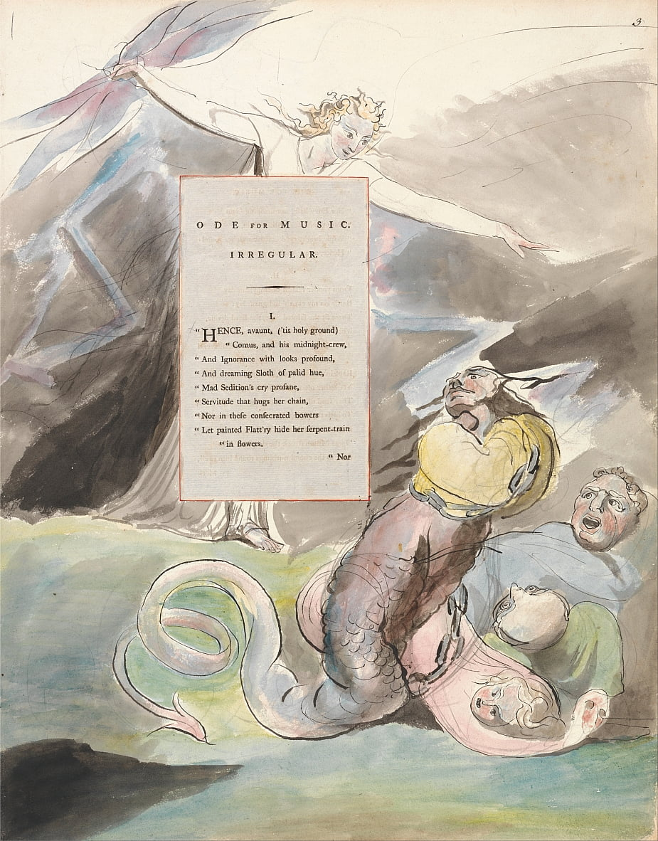Os Poemas de Thomas Gray, Design 95, Ode for Music. de William Blake
